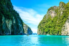 Boat in MAYA Bay Phi Phi Islands Andaman sea  Krabi Thailand. Royalty Free Stock Image