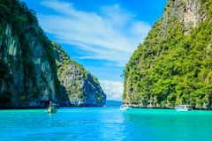 Boat in MAYA Bay Phi Phi Islands Andaman sea  Krabi Thailand. Royalty Free Stock Photography