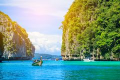 Boat in MAYA Bay Phi Phi Islands Andaman sea  Krabi Thailand. Boat in MAYA Bay Phi Phi Islands Andaman sea  Krabi Thailand Royalty Free Stock Photography