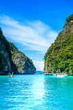 Boat in MAYA Bay Phi Phi Islands Andaman sea  Krabi Thailand. Stock Photography