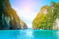 Boat in MAYA Bay Phi Phi Islands Andaman sea  Krabi Thailand. Stock Photography