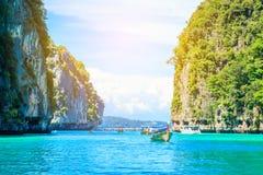 Boat in MAYA Bay Phi Phi Islands Andaman sea  Krabi Thailand. Boat in MAYA Bay Phi Phi Islands Andaman sea  Krabi Thailand Stock Photo