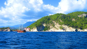Boat on Mediterranean Sea. The boat on Mediterranean Sea in Turkey Stock Images
