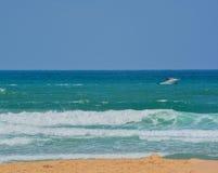 A boat on the Mediterranean Sea in Ashkelon, Israel Royalty Free Stock Photo