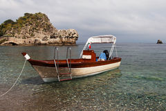 Boat in Mediterranean sea. Royalty Free Stock Images