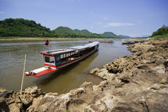 Boat on Mekong river, border crossing, checkpoint Stock Photography