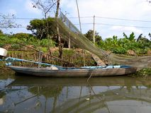 Boat in the Mekong river delta Vietnam Stock Images