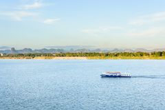 The boat in Mekong river Nakhonphanom Thailand to Lao.  Royalty Free Stock Photography