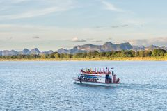 The boat in Mekong river Nakhonphanom Thailand to Lao.  Royalty Free Stock Photos