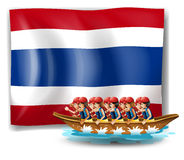 A boat with men near the flag of Thailand Royalty Free Stock Image