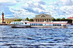 The boat Meteor floats on the Neva River vector illustration
