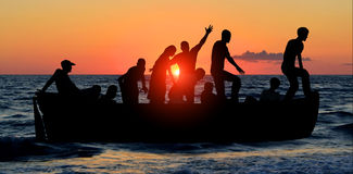 Boat with migrants Royalty Free Stock Images