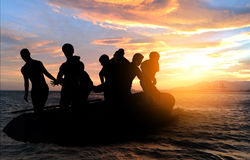 Boat with migrants Royalty Free Stock Photo