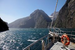 On a boat in the Milford Sound Stock Photos
