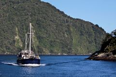 Boat in the Milford Sound Stock Photos