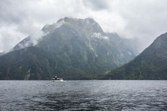 A boat in Milford Sound Stock Photo
