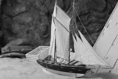 Boat Miniature in Monochrome Style Stock Photography