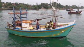 Boat in Mirissa. A fishing boat in Mirissa harbor Sri-Lanka Royalty Free Stock Images