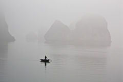 Boat in mist Royalty Free Stock Images