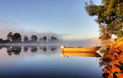 A boat in mist Royalty Free Stock Photo