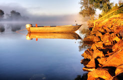 A boat in mist Stock Photography
