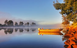 A boat in mist Royalty Free Stock Photography