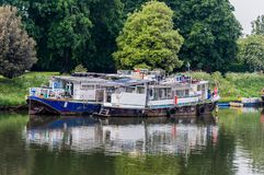 Boat moared at Hampton pier, River Thames, UK. Boat moared at Hampton pier, River Thames, United Kingdom Royalty Free Stock Photo