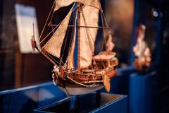 Boat model exhibition inside the German Museum of Technology De. Berlin, Germany - February 2018: Boat model exhibition inside the German Museum of Technology royalty free stock photo