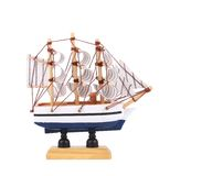 Boat model. Small wooden ship. Stock Photos
