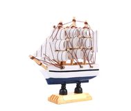 Boat model. Small wooden ship. Stock Photo
