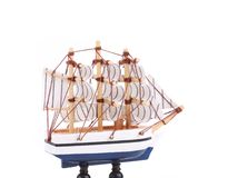 Boat model. Small wooden ship. Royalty Free Stock Photos