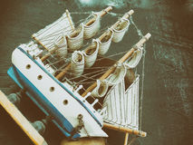 Boat model. Small wooden ship. Royalty Free Stock Image