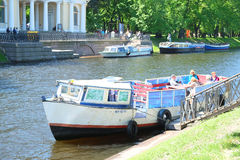 Boat on a Moika river in St. Petersburg Stock Photos