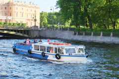 Boat on a Moika river in St. Petersburg Stock Photo
