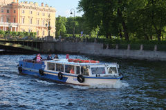 boat on a Moika river in St. Petersburg Royalty Free Stock Image