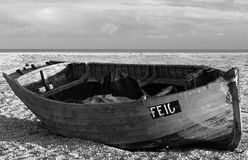 Boat. Monochrome boat beach sky clouds Royalty Free Stock Image