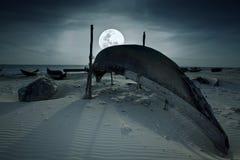 Boat and moon Royalty Free Stock Photo