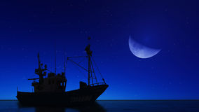 Boat and the moon. In the sea Stock Image