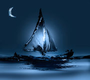 Boat in Moonlight Royalty Free Stock Images
