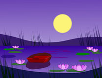 Boat in the Moonlight Royalty Free Stock Image