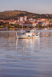 Boat Moored of the Coast of Ayvalik Royalty Free Stock Image