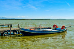 Boat moored in a dock in the Albufera, in Valencia, Spain Stock Photography