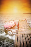 Boat moored in the harbor Royalty Free Stock Photo