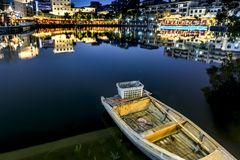A boat moored in the lake-Ruzi Pavilion Park night. Kiosks in the city of Nanchang province Xihu District in Jiangxi, West Lake, named for the memorial of the Royalty Free Stock Photography
