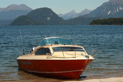 Boat  moored at lake Te Anau Royalty Free Stock Photo