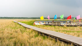 Boat moored on pier by lake. Scenic view of boats moored on pier by lake in countryside with long raised walkway in foreground Royalty Free Stock Image