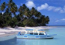 Boat moored at Pigeon Point, Tobago. Stock Photography