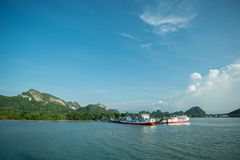 A Boat moored at the port of the samui island Stock Images