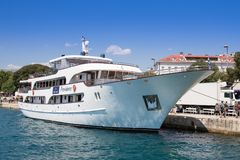 Ship in port. Split - Croatia. A boat moored in the port waiting for passengers. Split in Croatia Stock Photos