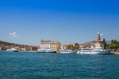 Ships in port. Split - Croatia. A boat moored in the port waiting for passengers. Split in Croatia Stock Photos